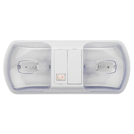 AP Products 016-BL3001 Interior Light Brilliant Light (TM) Double Ceiling Light; Double Clear Lens With 921 Incandescent Bulb; Single; With White Frame And White Switch - image 1 of 1