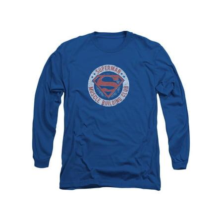 Superman DC Comics Muscle Club Adult Long Sleeve T-Shirt Tee