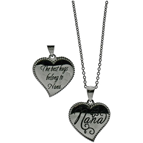 Connections from Hallmark Stainless-Steel Inscribed Nana Heart Pendant, 18-20""