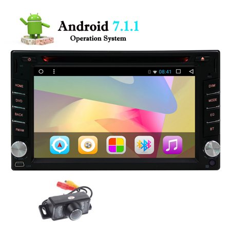 Standard Double 2 Din Android 7.1 in Dash Car Stereo Radio GPS Navigation with Wifi Bluetooth Mirrorlink/Airplay Car Deck DVD Player Autoradio Video Head Unit support Video out Subwoofer + B