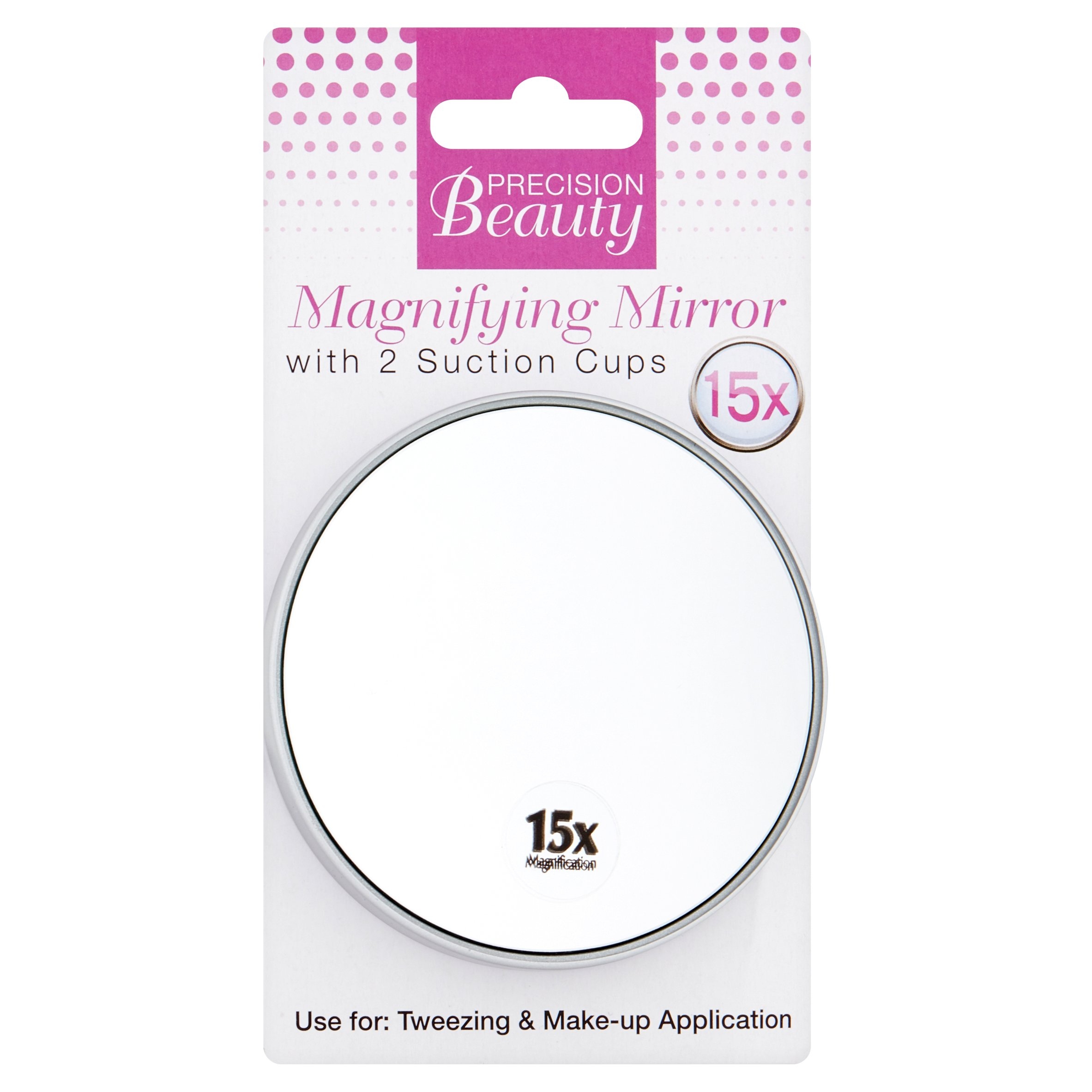 "Precision Beauty Suction Cup Mirror 3 1/2"" 15x in Silver Metallic"