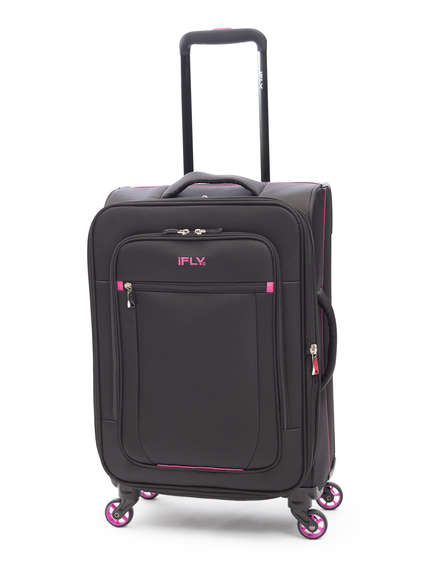 "iFLY Soft Sided Luggage Glamour 20"", Black/Pink"