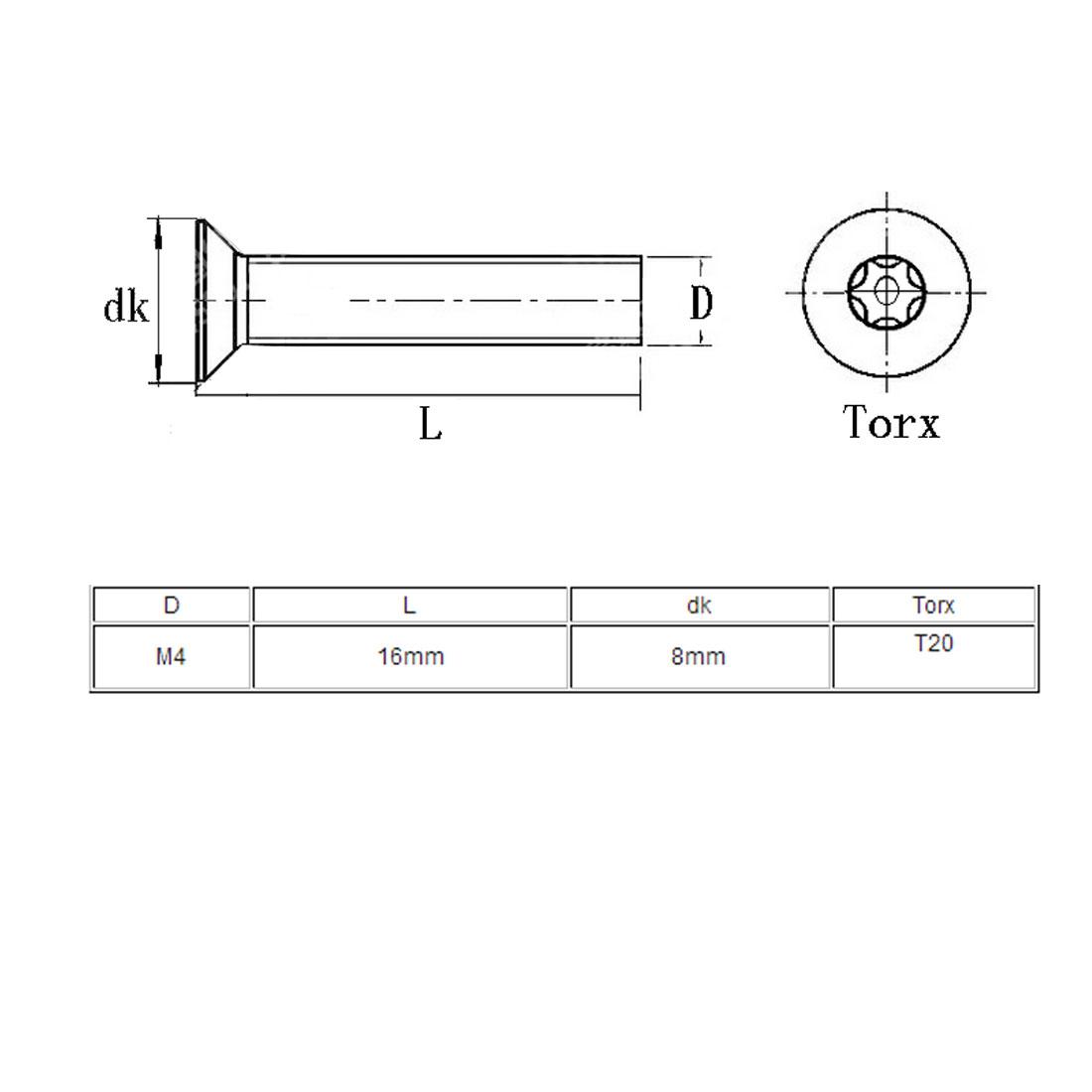 M4x16mm 304 Stainless Steel Flat Head Torx Pin Tamper Resistant Screws 20pcs - image 3 de 4