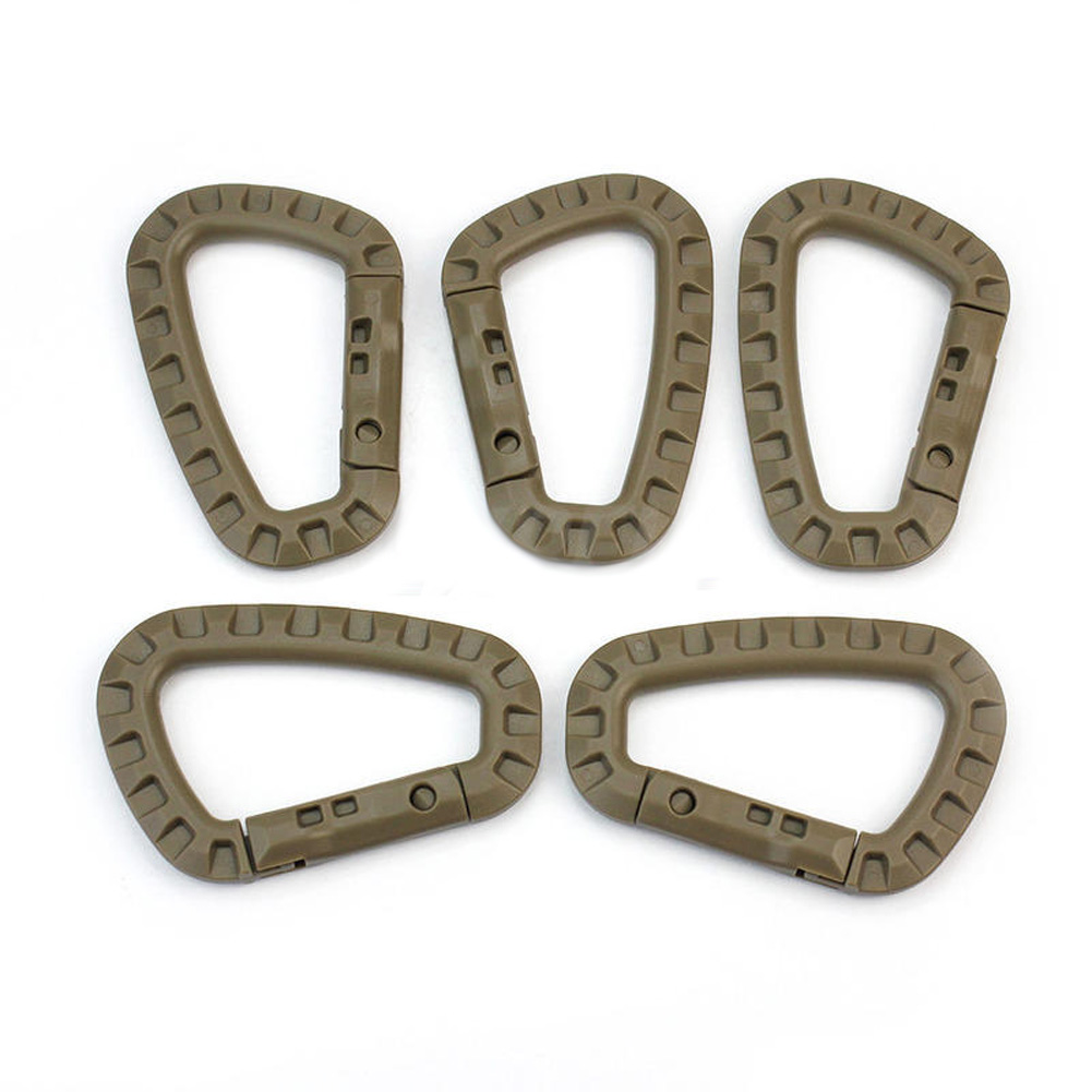 5pcs Outdoor Carabiner D-Ring Key Chain Clip Hook Camping Plastic BucklHFUK