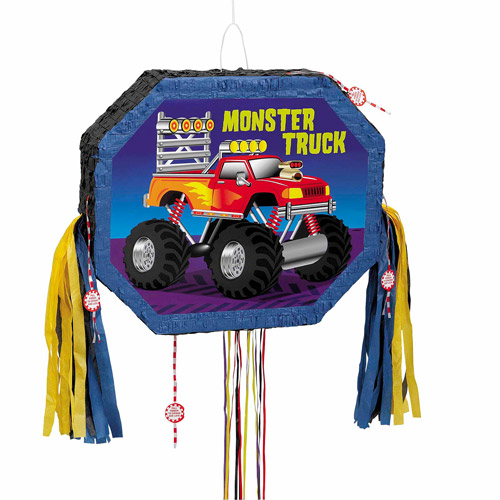 Monster Truck Pinata, Pull String, 20.5 x 17.5 in, 1ct