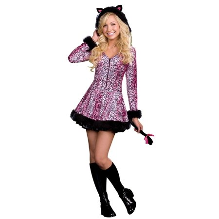 Pink and White Pretty Little Kitty Women Adult Halloween Costume - Extra Small