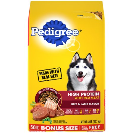 PEDIGREE High Protein Adult Dry Dog Food Beef and Lamb Flavor, 50 lb. Bonus Bag