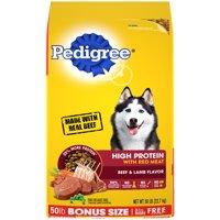 PEDIGREE High Protein Adult Dry Dog Food Beef and Lamb Flavor, 50 lb. Bonus Bag
