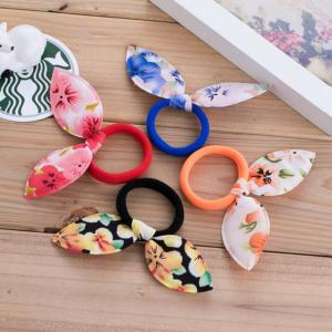Fancyleo 20 Pcs Children Kid Rabbit Ear Hair Tie Loop Elastic Rubber Band Hair Rope Ring Pony Ponytail Holder Beauty Tool For Babies Toddlers Kids Women Girls As Gift (Random Color)