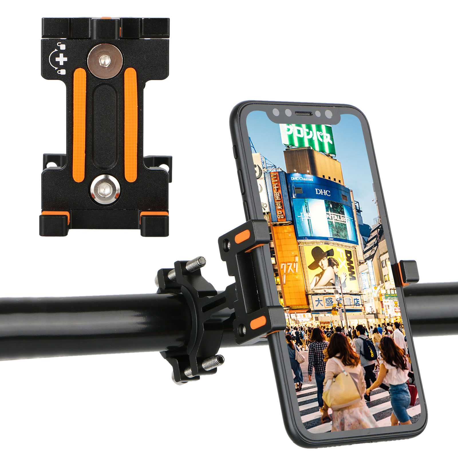"""Bicycle Phone Holder Mount Bracket, Waterproof Rotatable Fit for 3.5"""" - 7"""" Smartphone, Bike Handlebar Stand for Motorcycle Cycling"""