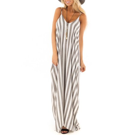 Women Boho Striped Strap Sling Long Maxi Dress Evening Party Beach Dresses Summer Sundress - Striped Maxi Dress