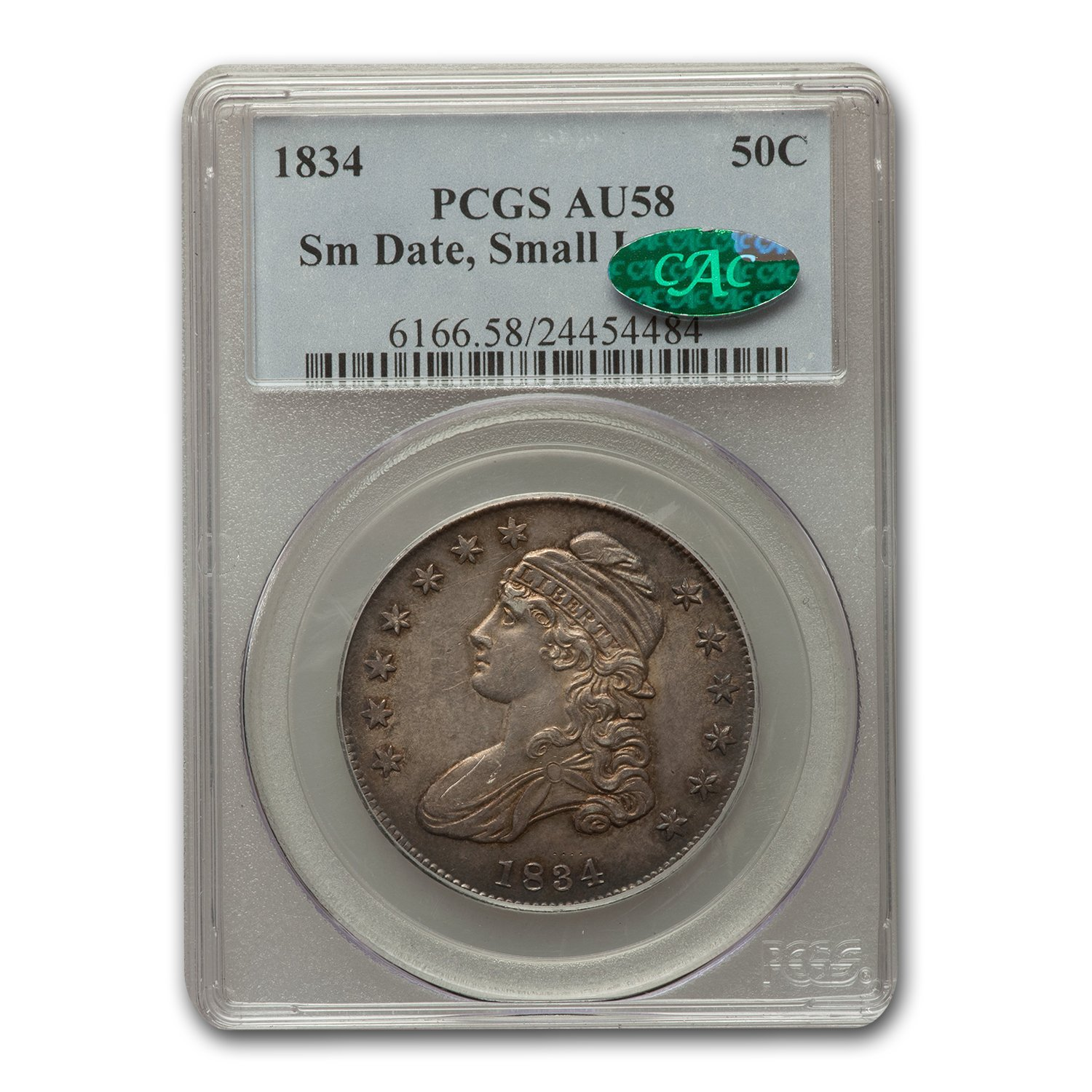 1834 Capped Bust Half Dollar AU-58 PCGS CAC (Sm Date, Sm Letters)