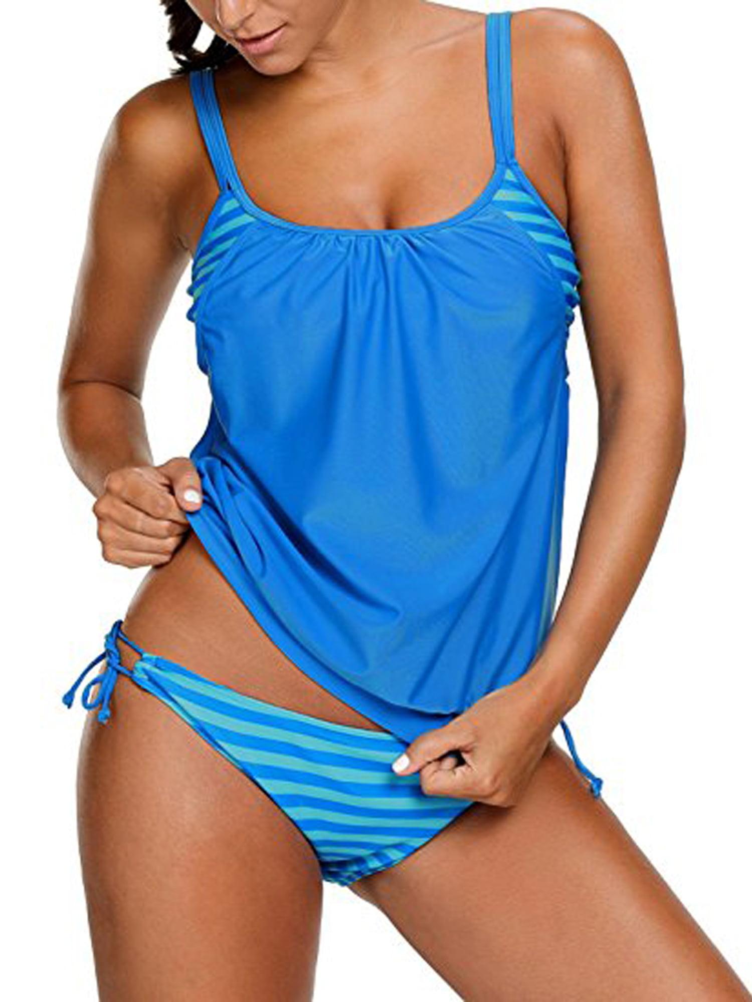 LELINTA Women's Set Stripes Lined Up Double Up Tankini Swimwear Swimsuit Four Color Black Dark Blue Red Light Blue by LELINTA