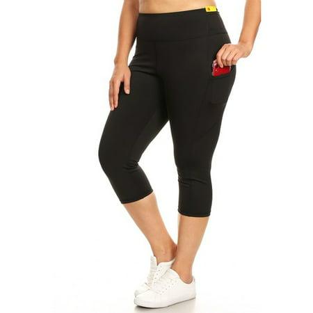 Women's Stretchy Active High Rise 5-Pocket Capri Leggings (Plus Size)