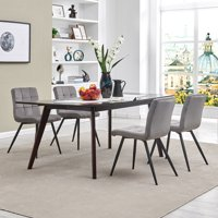 Duhome Dining Chairs Dining Room Armchairs Set of 4 Modern Upholstered Accent Chairs with Solid Steel Legs Velvet Cushion for Living Room Grey