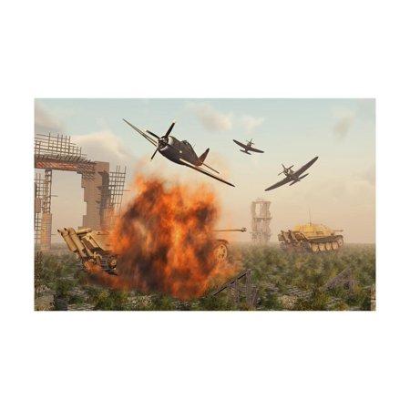P-47 Thunderbolts Attacking German Jagdpanther Tanks During World War Ii Print Wall Art