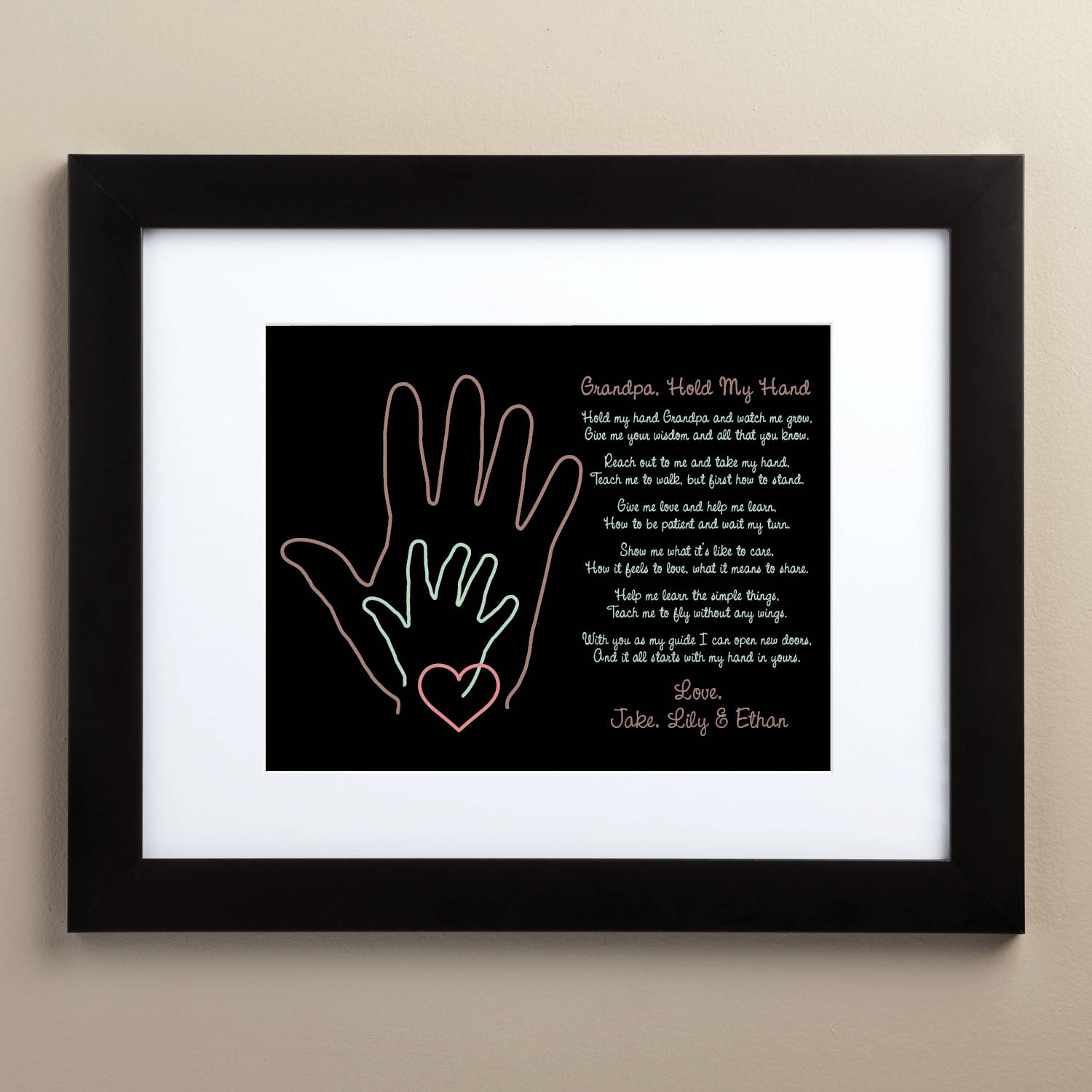 Personalized Grandpa Hold My Hand Framed Print