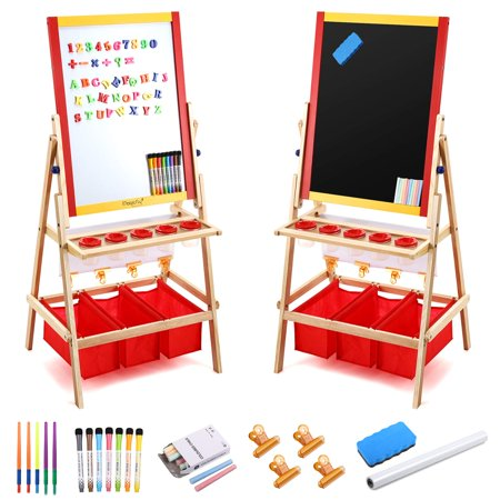 Magicfly Double Sided Kids Easel, Chalkboard & Magnetic Dry Erase Board, Art Easel for Toddler Painting& Drawing, Multiple Art Accessories Included Double Chalkboard Easel