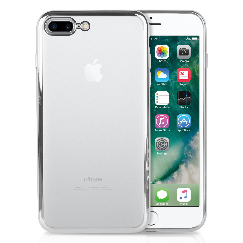 iPhone 7 PLUS Case & iPhone 8 PLUS, SOJITEK [Metallic Electroplating TPU bumper] Ultra Slim Lightweight Crystal Clear Back Cover Soft TPU Case for iPhone 7 - Metal Silver