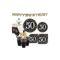Sparkling Celebration 50th Birthday Party Kit for 32 Guests, 268 Pieces