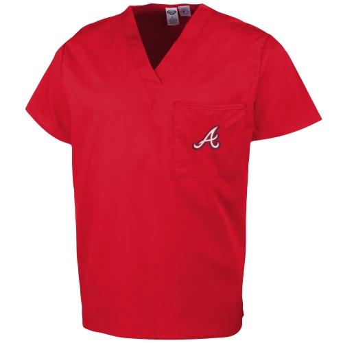 Atlanta Braves Unisex Scrub Top - Red