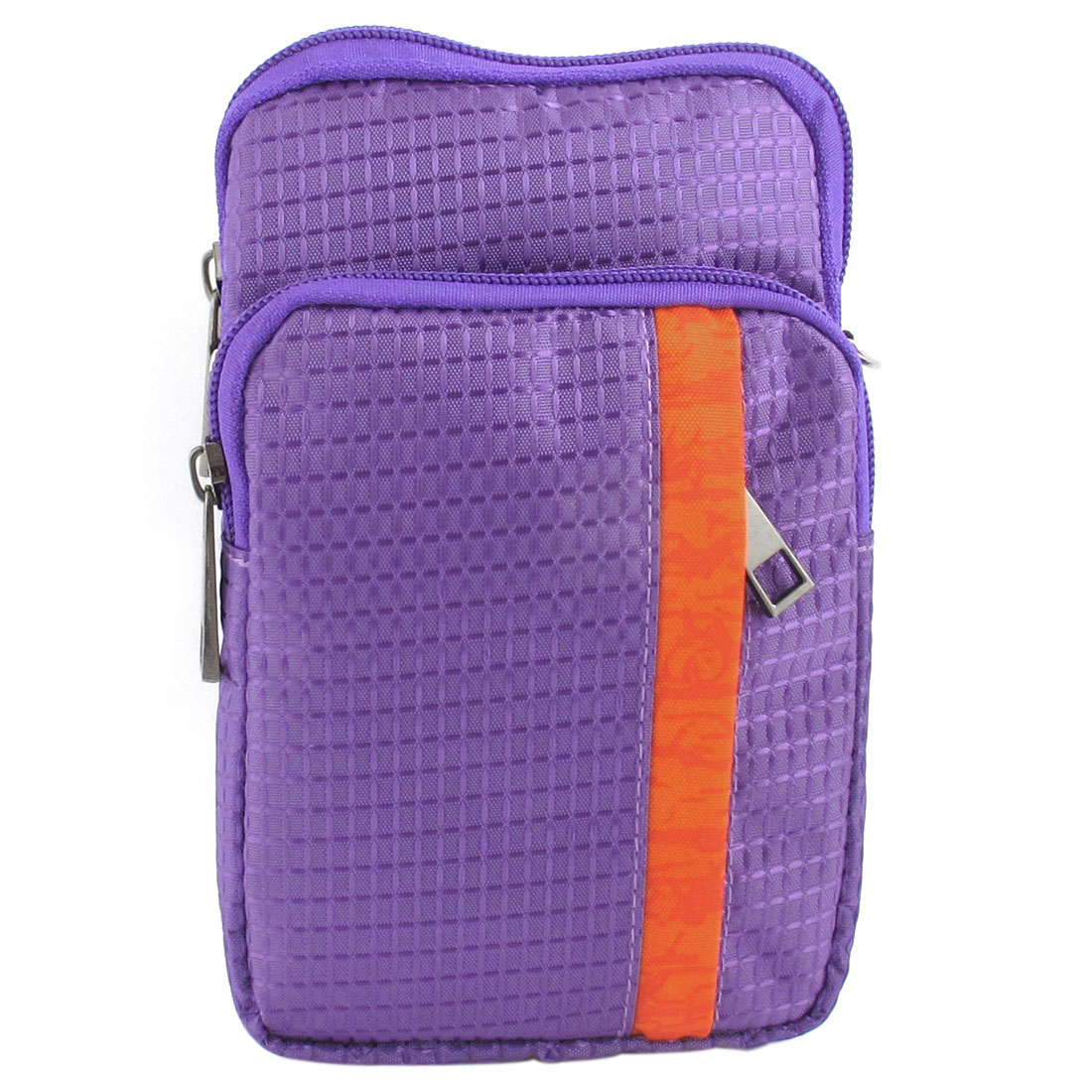 Portable Check Pattern Vertical Bag Pouch Holder Purple for Smartphone MP4 Keys
