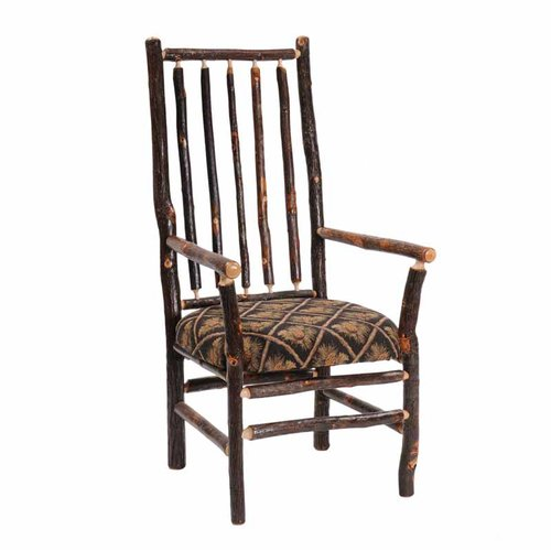 Fireside Lodge Hickory High Back Spoke Back Fabric Arm Chair