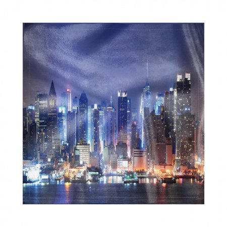 NYC Scene Napkins Set of 4, Real Life Picture of the Skyline at Night over River Photo, Silky Satin Fabric for Brunch Dinner Buffet Party, by