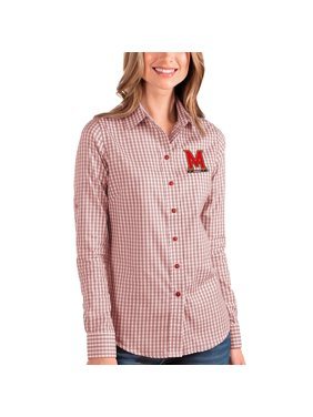 Maryland Terrapins Antigua Women's Structure Button-Up Shirt - Red/White