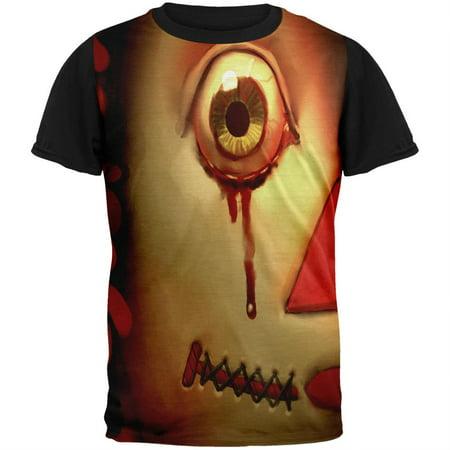 Halloween Haunted Doll Adult Black Back T-Shirt