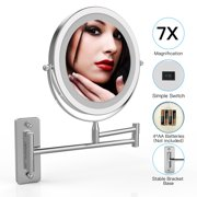 IMAGE LED Wall Mounted Makeup Mirror 7-Inch, 2-Sided Wireless Makeup Mirror with 1x/7x Magnification, 13 -Inch Extension