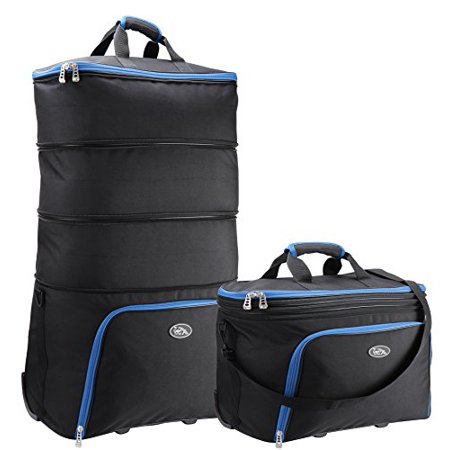 Brno Expandable Cabin Bag to XL Check In case 40 x 50 x 25 cm - Expands to (51 x 82 x 25 cm) XXL 105 litres(Black/Blue)