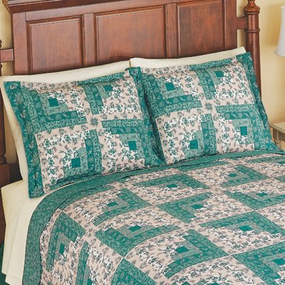 Sutton Patchwork Pillow Sham with Green Floral Accents, Green, Sham