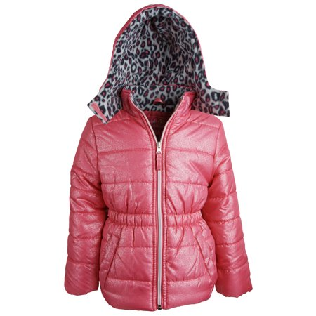 Pink Platinum Girls Down Alternative Fleece Lined Glittered Winter Puffer Jacket (Girls Winter Clothes Sale)