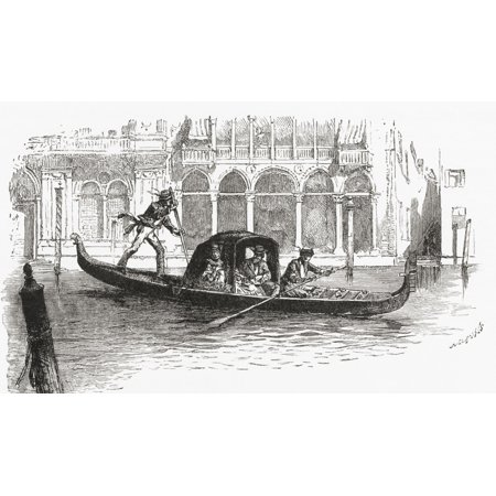 A Gondola Transporting Passengers On The Grand Canal Venice Italy In The Late 19Th Century From Italian Pictures Published 1895 Canvas Art - Ken Welsh  Design Pics (40 x 22)