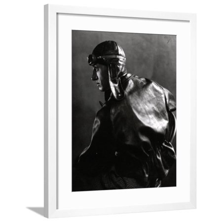 Half-Length Portrait in Profile of a Motor Cyclist with Leather Jacket and Helmet Framed Print Wall Art By Carlo Wulz