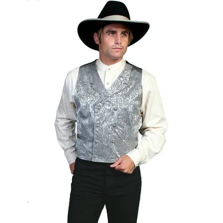 Western Vest Mens Silk Jacquard Formal Dress Button 535344