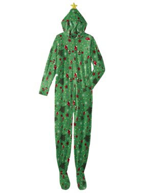Product Image Womens Green Christmas Tree Blanket Sleeper Holiday Pajama  Hooded Union Suit 813ef1833