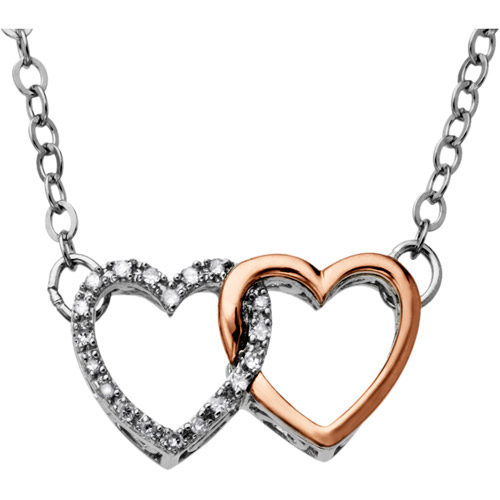 """Duet 10kt Pink Gold and Sterling Silver .05 Carat Diamond Double Heart Necklace, 17"""""""