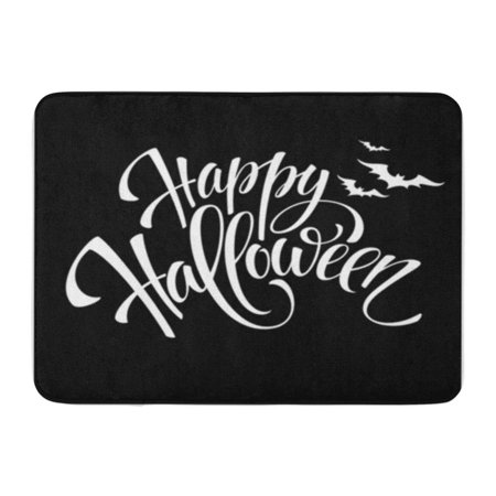 KDAGR Gray Text Happy Halloween Message Party Pumpkin Doormat Floor Rug Bath Mat 30x18 inch - Halloween Safety Message