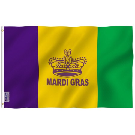 ANLEY Fly Breeze 3x5 Foot Mardi Gras Flag Happy Carnival Decoration - Vivid Color and UV Fade Resistant - Canvas Header and Double Stitched - Fat Tuesday Flags Polyester with Brass Grommets 3x5 Ft