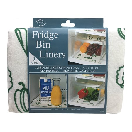 432700 Fridge Bin Liners, 3 count, 12-Inch by 24-Inch, White, Absorbs excess moisture from fruit and vegetables when placed in drawers or on trays and shelves By Envision Home