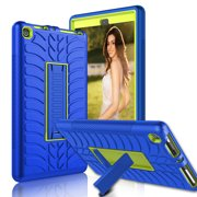 ELEGANT CHOISE Case for Amazon Kindle Fire HD 8 2017 Tablet- Heavy Duty Three Layer Armor Defender Shockproof Protective Case Cover with Kickstand(Blue)
