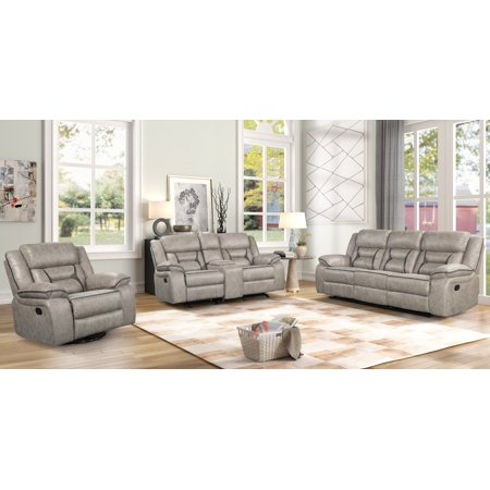 Elkton Manual Motion Reclining Living Room Set, Taupe