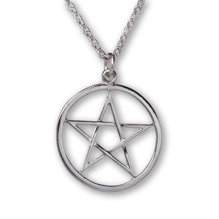 Pentacle Polished Silver Finish Medieval Renaissance Pendant Necklace by Real Metal Jewelry - Medieval And Renaissance Clothing