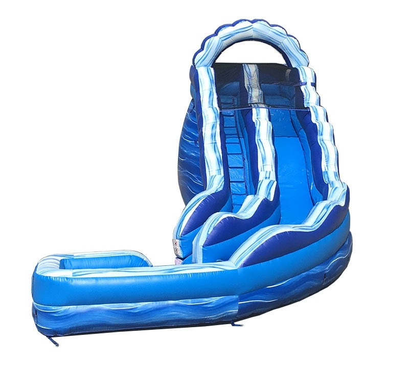 Pogo 17' Blue Marble Curved Commercial Kids Inflatable Waterslide with Blower by Pogo Bounce House