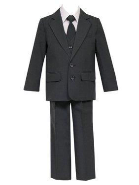 Little Boys Charcoal 5 Pcs Shirt Vest Jacket Tie Pants Suit