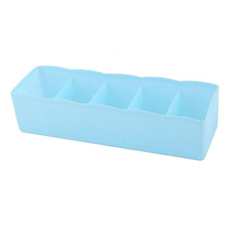 Plastic Rectangle 5 Compartments Desk Decor Sundries Organizer Storage Box Blue](Plastic Desk Organizer)