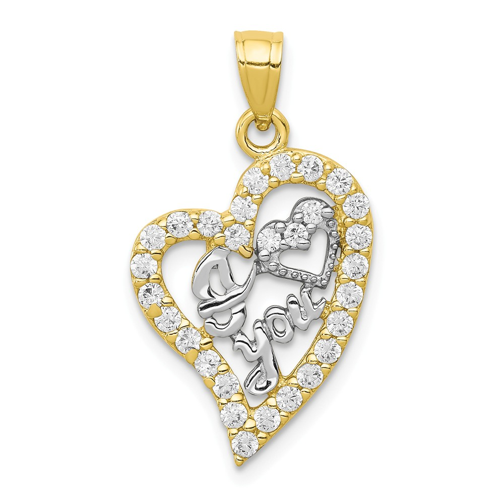 10K Yellow Gold & Rhodium I Love You CZ Heart Pendant