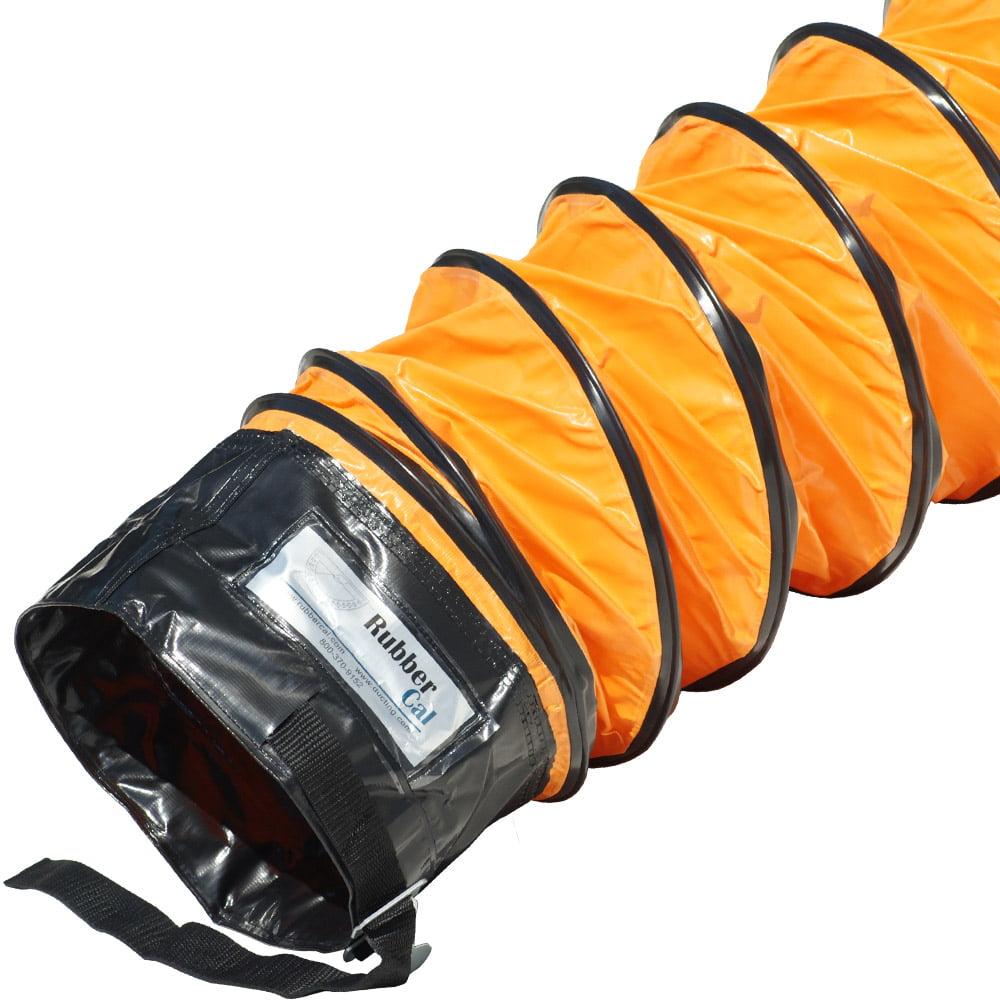 "Rubber-Cal ""Air Ventilator Orange"" Ventilation Duct Hose - 10""ID x 25' Length Hose (Fully Stretched)"